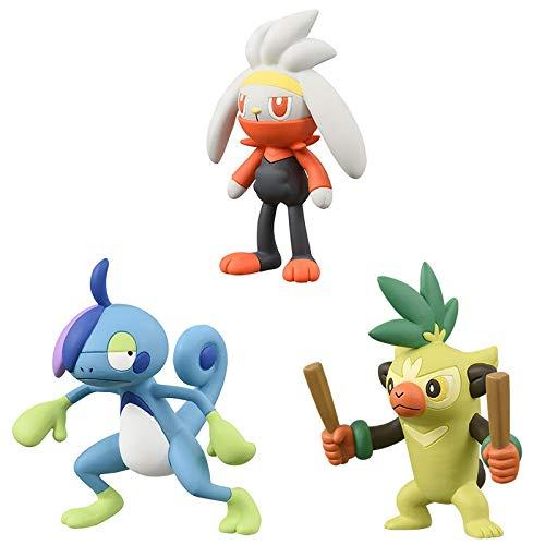 Zking 3 Uds Espada Y Escudo Raboot Thwackey Drizzile Figura De Acción Modelo Juguetes Pokemones Figura Juguetes Regalos para Niños 4Cm