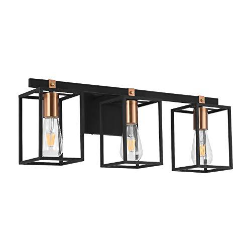 Liwuu Lámpara rústica de baño con 3 luces, color negro y latón dorado jaula de metal para casa de granja, candelabro de pared de iluminación de tocador luces sobre espejo