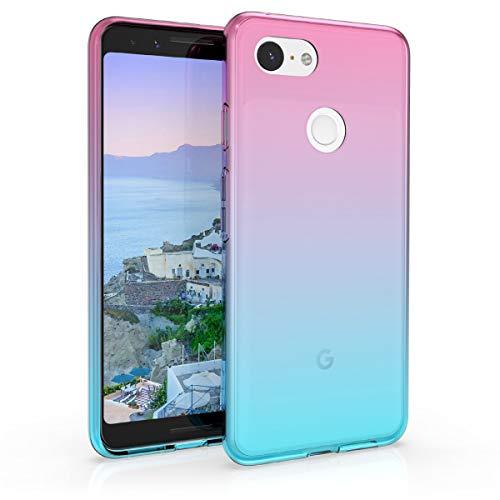 kwmobile Hülle kompatibel mit Google Pixel 3 - Hülle Handy - Handyhülle Zwei Farben Pink Blau Transparent