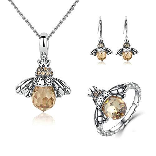 YHQKJ Linda joyería de la Serie de Abejas, Conjunto de Collar de Cristal de Plata esterlina S925, Abdomen Coloreado ámbar y alas Brillantes, para Mujeres y niñas. (Size : US No. 8 Ring)