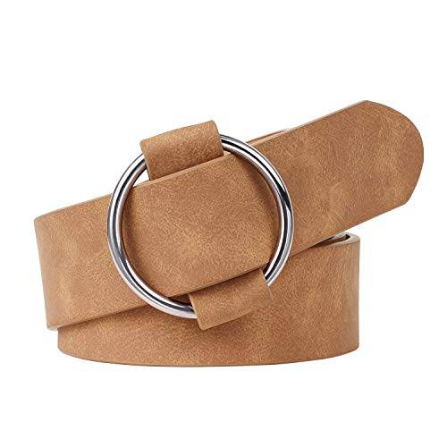 Western Round Buckle Leather Belt for Women, Brown Leather Belts For Short, Mother Days's Gift