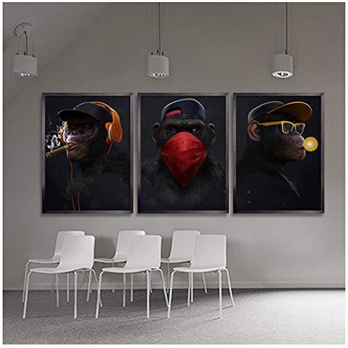 """LELME Leinwandbilder Abstrakt Swag Monkey Poster Wandkunst Bild für Wohnzimmer Wohnkultur Moderne Leinwand Kunst 40x60cm (15,7""""x23.6) x3 Kein Rahmen"""