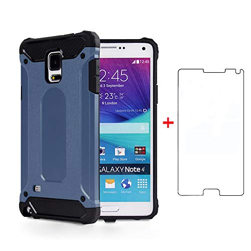 Phone Case for Samsung Galaxy Note 4 with Tempered Glass Screen Protector Cover and Cell Accessories Heavy Duty Rubber Full Body Slim Silicone Glaxay Note4 N910A Not Notes Women Men Cases NavyBlue