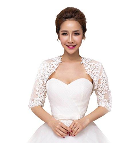 Fablcrew - 1 giacca da donna in pizzo, bolero da sposa, a mezza manica, colore: bianco avorio