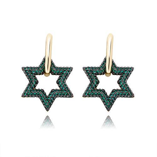 Cakunmik Hexagram Earrings Hip Hop Trend Women's Earrings Full of Zircon Fashion All-Match Earrings Valentine's Day Birthday Gifts,C