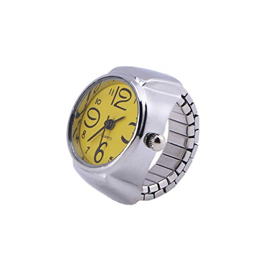 Happyyami Reloj de Anillo de Dedo de Cuarzo de Acero Elástico Unisex Reloj de Anillo de Pareja