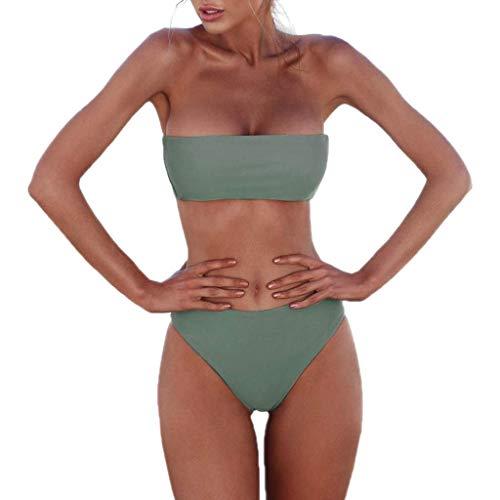 Ducomi Kim Costume Donna Mare Due Pezzi - Costume da Bagno con Fascia Push Up e Brasiliana Vita Alta - Costumi Bikini Imbottito Sexy da Spiaggia per Un Estate alla Moda (Green, XL)