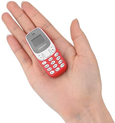 MiRUSI Mini teléfono móvil más pequeño del Mundo Bluetooth es Compatible con la Tarjeta SIM Dual BM10 (Rojo)