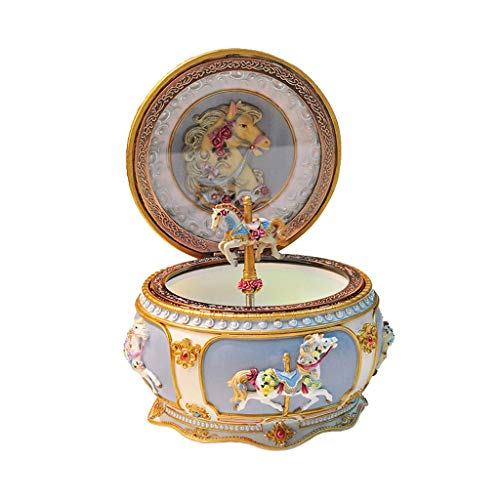 Xinxinchaoshi Music Box Carousel Classic LED Light Resing Carved Music Box, Regalo Di Compleanno Per Ragazza/Compleanno (Color : A)