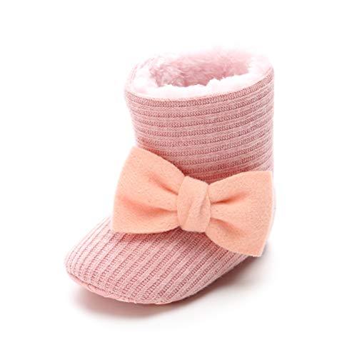Patucos de Ganchillo Lana Bebé Invierno Soft Sole Crib Caliente Botas de Niñas Algodón con Bowknot (0-6 Meses, Rosa, Tamaño de Etiqueta 11)