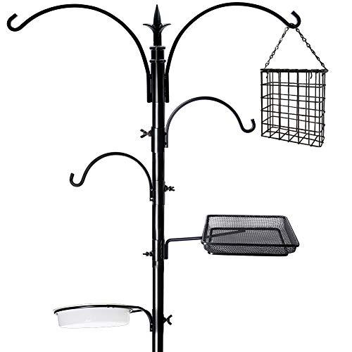 yosager 91' x 23' Premium Bird Feeding Station Kit, Bird Feeder Pole Wild Bird Feeder Hanging Kit with Metal Suet Feeder Bird Bath for Bird Watching Birdfeeder Planter Hanger
