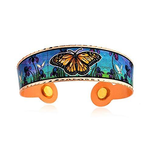 Pulseras magnéticas de cobre hechas a mano, diseño de mariposas, hojas de arce, libélula, tortuga, gato, lobo ajustable, joyería de vida silvestre