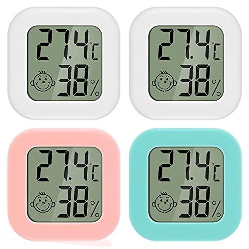 PAIRIER Mini TermóMetro HigróMetro Digital 4 piezas Medidor Temperatura Humedad Con LCD Pantalla para Sala de Estar AlmacéN Cuarto de Bebé Guardarropa MedicióN de Temperatura y Humedad