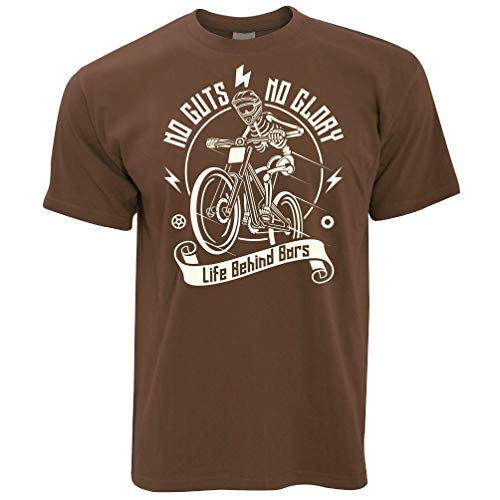 Tim And Ted Cycling T Shirt No Guts No Glory Mountain Biking Bike Chocolate Brown Small