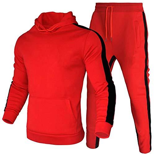 amropi Conjunto de Chandal Jogging para Hombre Sudaderas con Capucha y Pantalones 2 Piezas XL,Rojo
