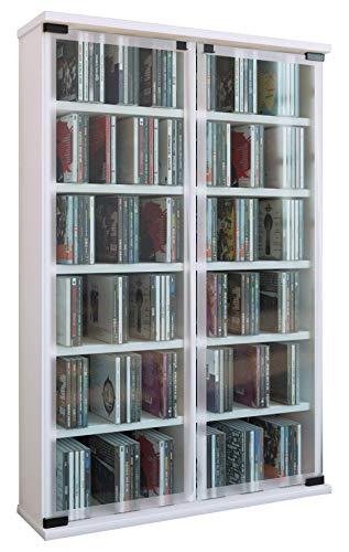 VCM Meuble DVD Galerie pour 300 CD, Bois, Blanc, 91,5x60x18 cm