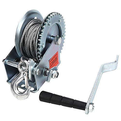 Cabrestante Manual, Torno Elevador con Manivela y Cable de 10 m 1200...