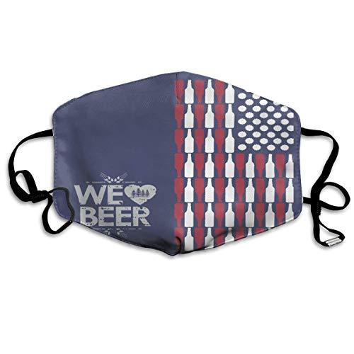 CAIQ Unisex Full-Coverage tube gezicht pleister bandanas UV-bescherming hals Gamas, hoofdband Bier USA vlag