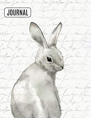 Big Fat Bullet Style Journal Notebook Watercolor Rabbit: Huge Dot Grid Book For Journaling Over 300 Numbered Pages (Nature Series)