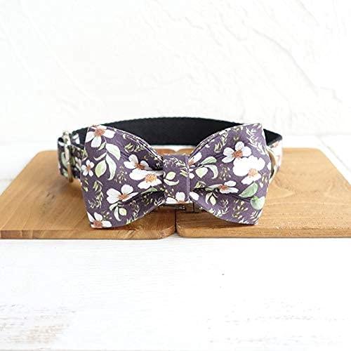 WSYGHP Collar o correa con asa acolchada de crisantemo negro para perro o gato con lazos, diseño con correas de algodón para perro o gato, correa para perro (color: corbata de cuello, tamaño: XL)