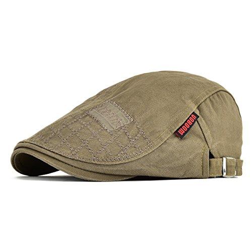 VOBOOM Men Cotton Adjustable Newsboy Beret Ivy Cap Cabbie Flat Cap (Dark Brown)