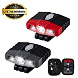 Ultra Bright Mini Hands Free Cree LED Clip on Cap Light - Rechargeable Waterproof Hat Light Flashlight Headlamp for Fishing Camping Hand Work Baseball Caps, 2 Pack -(Grey+Red)