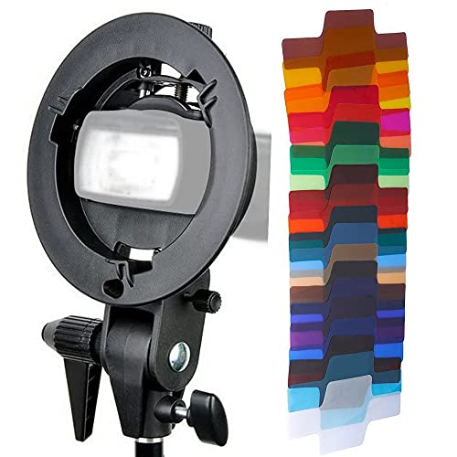 Godox S-Type Bracket Bowens Mount Holder with 20 Pieces Gel Light Filter for Speedlite Flash Snoot Softbox Honeycomb