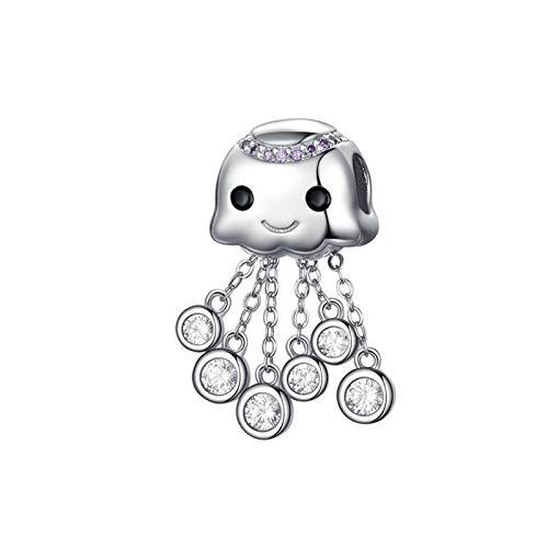 HMMJ S925 Sterling Silver DIY Handmade Cute Smiley Zircon Octopus Charms Dangle Bead for Pandora Troll Chamilia Charm Bracelet Necklaces