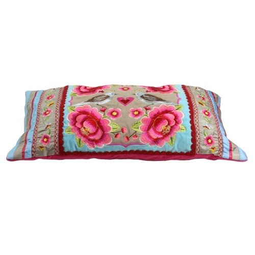 Lowest Price! Mimex Pip Studio Home 12-Inch by 20-Inch Multi Flower Birds Cushion Cover, Khaki