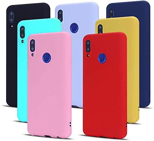 MoEvn 7X Cover Huawei P Smart 2019 Custodia, Morbido TPU Silicone Protezione Case per Huawei P Smart 2019 / Honor 10 Lite Smartphone Opaco Gomma Gel ottile Antiurto Cellulare Bumper (7 Colori)