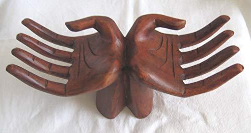 Artigianato etnico Doppia Mano Porta Anelli Circa 20 cm