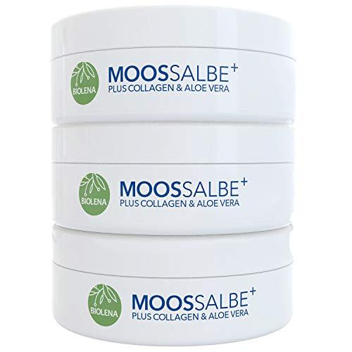 Biolena Moossalbe Plus – Mooscreme gegen Falten (3 Tiegel je 100 ml) – Moossalbe Gesicht Falten Antifaltencreme Soforteffekt Moos Salbe