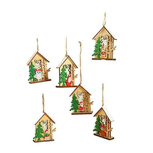 BESPORTBLE 6 stücke weihnachtsdekoration holzhaus anhänger Ornamente für Baum zu Hause Festliche Weihnachten hängende Dekoration für Party Home Office