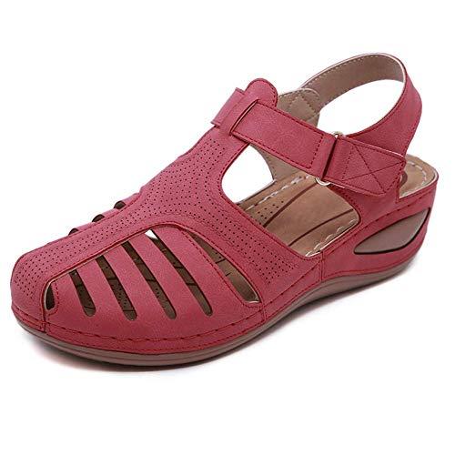 iSunday dames holle ronde teen sandalen met wighak sandalen comfortabele enkels holle ronde zachte zool schoenen