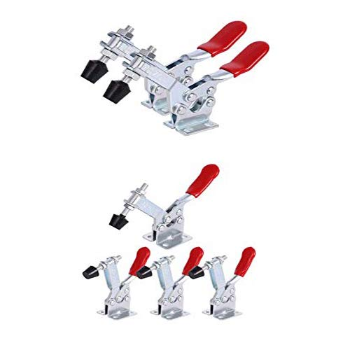 Toggle Clamp 201B 220lbs 4 Pcs and 225D 500lbs 2Pcs Woodworking Clamps Adjustable Antislip Quick Release and Fast Fix Red Horizontal Toggle Clamps for Woodworking Tools and Accessories