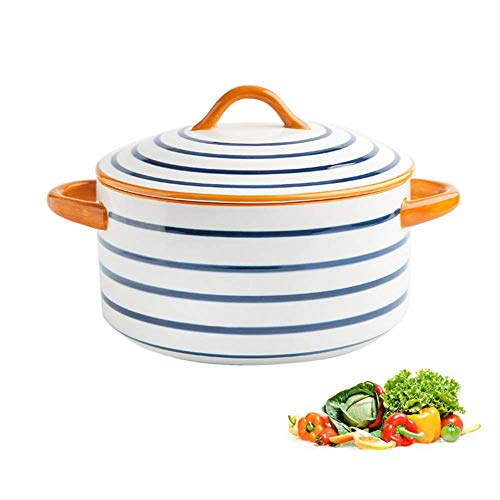 WYZXR Casserole with Lid, 1 L Casserole Dish, Ceramics, Japanese Style Binaural Soup Bowl, Instant Noodle Bowl, Home Creative Personality Soup Pot Oven/C