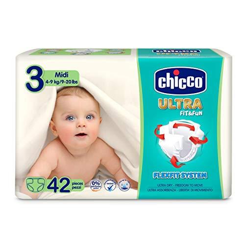 Chicco Chicco Ultra Fit&Fun - Confezione da 42 pannolini ultra assorbenti, taglia 3, 4-9 kg (Midi) 42 pz - Pannolini Maxi 4-9 kg 42 pz