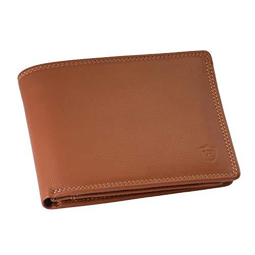 VON HEESEN Geldbeutel Männer mit RFID-Schutz - Made in Europe - 13 Fächer - Leder Geldbörse für Damen & Herren - Portemonnaie Portmonaise Brieftasche Portmonnaie Wallet Portmonee (Cognac)