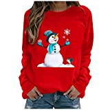 COOKI Christmas Pullover Sweatshirts for Womens Christmas Funny Snowman Print Crewneck Long Sleeve Sweater Casual Tops Shirts Red