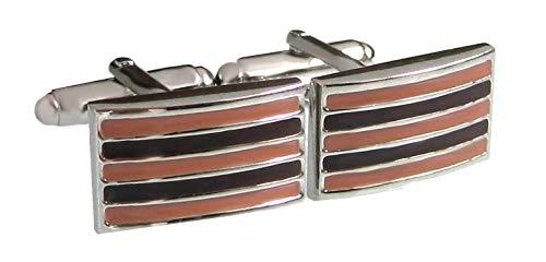 Unbekannt maronbraune rosa Manschettenknöpfe gestreift rechteckig + Geschenkbox Sale