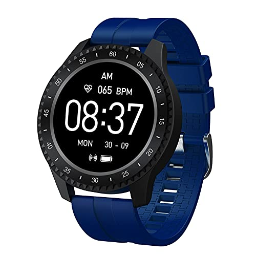 F17 - Reloj inteligente para hombre y mujer, con monitor de ritmo cardíaco, IP68, resistente al agua, reloj inteligente para mujer (azul)
