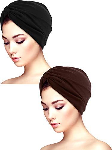 Yaomiao 2 Stücke Schlaf Weichen Turban Kappen Gedruckt Turban Hut Schlaf Hut Headwears für Damen (Farbe Satz 5)