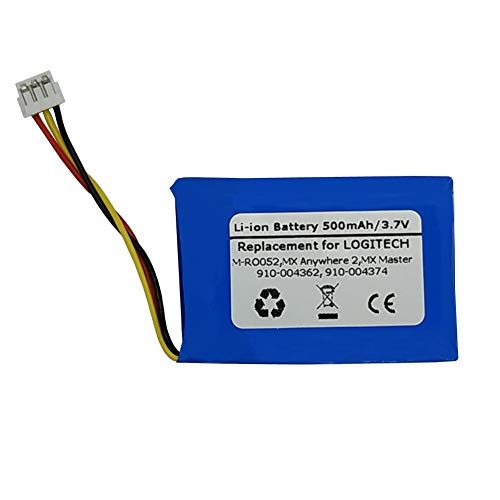 3.7V 500mAh Replacement Battery for Logitech 910-004362, M-RO052, MX Anywhere 2, MX Master,533-000088 533-000120 533-000121 AHB303450 L/N: 1412