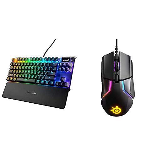 SteelSeries Apex 7 TKL Compact Mechanical Gaming Keyboard (Red Switch) & Rival 600 Gaming Mouse - 12,000 CPI...
