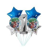 風船 新しい7ピースホイルの風船30インチブルーナンバーインフレータブルボールスーパーヒーローハルク誕生日パーティーデコレーションキッズトイズスターグロビ (Color : Deep Sapphire)