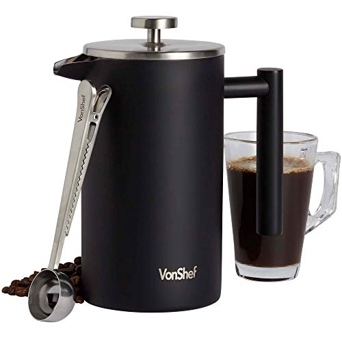 VonShef Kaffeebereiter aus Edelstahl, mit Löffel, mattschwarz, doppelwandig, Kaffeebereiter, Filterkaffeemaschine mit Messlöffel, ca. 100 ml