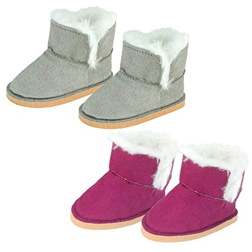 Sophia's Set of 2 Mini Ewe Booties for Dolls 1 Pair in Raspberry, 1 Pair in Gray   18 Inch Doll Boots