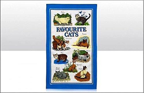Favourite Chats Torchon Coton Bordure Bleue Tigré Birman Perse Écaille De Tortue Sacré De Birmanie Abyssian Manx British Shorthair Cadeau Souvenir Animaux