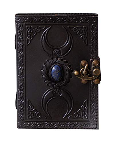 Leather Stone Journal Wiccan Blank Book of Shadows Journal with Lock Clasp Triple Moon Witchcraft Pagan Celtic Spell Book Witch grimoire Third Eye Writing Notebook 7x5 Inches