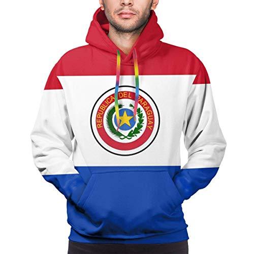 ZQHRS Sudaderas con Capucha Populares para Hombre Sudaderas con Bandera de Paraguay con Bolsillo Talla L